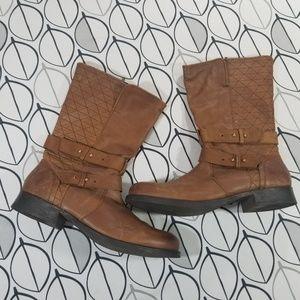 Steve Madden Kristen Brown Leather Moto Boots 12M